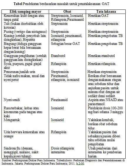 Tabel Pendekatan Berdasarkan Masalah untuk Pelaksanaan OAT