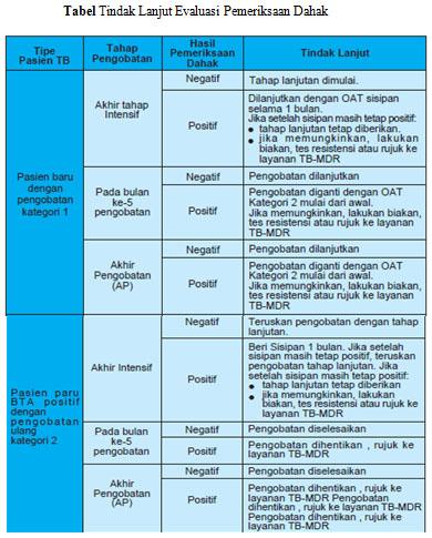 Tabel Tindak Lanjut Evaluasi Pemeriksaan Dahak